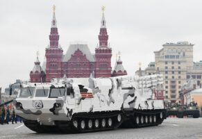 A Pantsir-SA air defense system Arctic edition rides through Red Square during the Victory Day military parade in Moscow on May 9, 2017.
