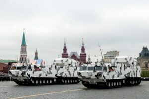 """The final rehearsal of the military parade dedicated to the 73rd anniversary of the Victory in the Second World War was held on Red Square. Arctic complex of air defense """"Tor-M2DT"""" on hte basis of ATV-30. May 07, 2018. Russia, Moscow."""