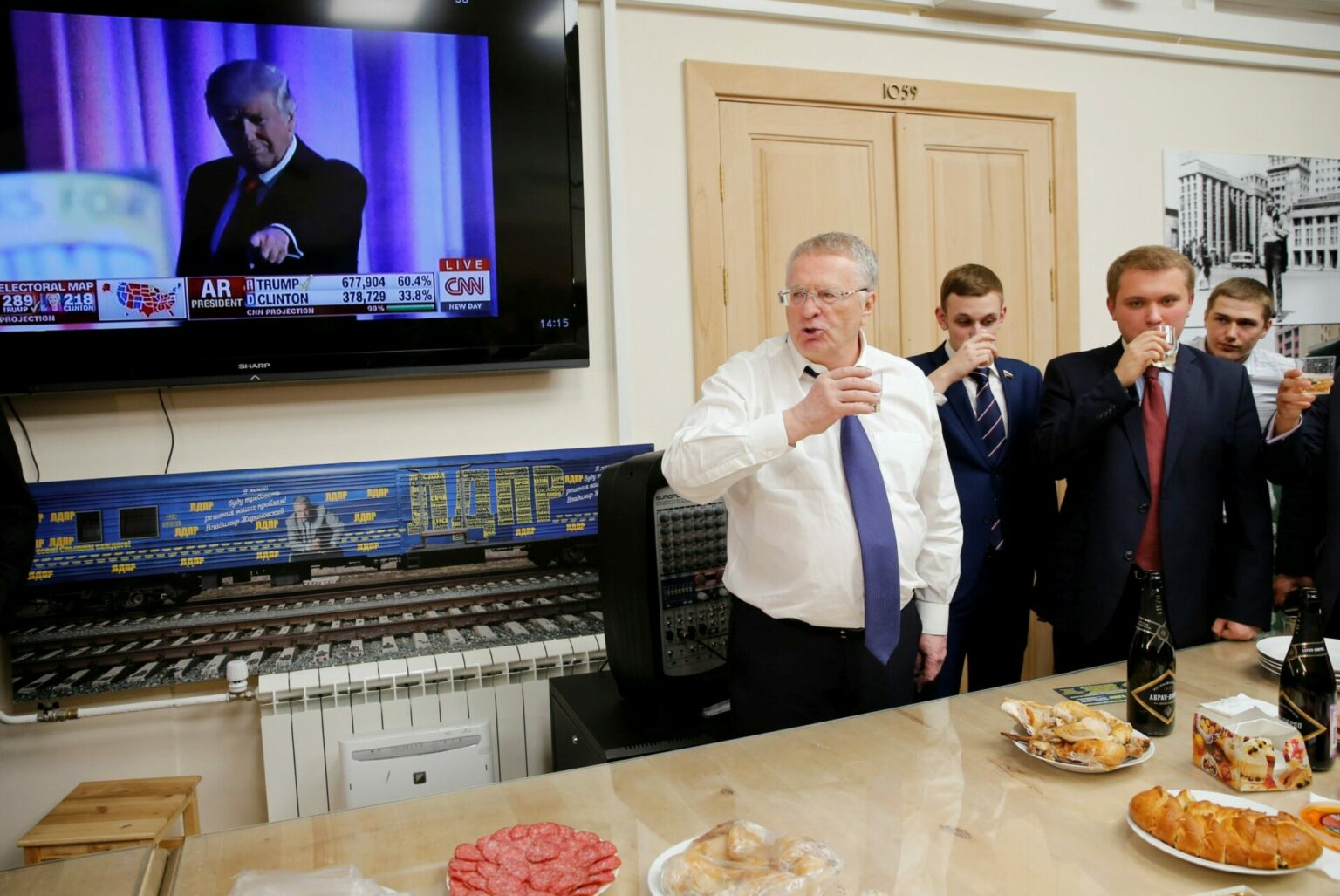 Vladimir Zhirinovsky celebrates Donald Trump s election as president by drinking sparkling wine with other party members during a break in the session of the State Duma, the lower house of parliament, in Moscow, Russia, November 9, 2016. The Russian attitudes towards Trump have changed ever since.