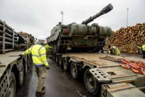 NATO military equipment in Paldiski port, Estonia. NATO is plugging the gaps in the security of the Baltic states.