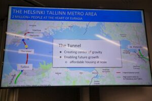 A drawing of the Helsinki–Tallinn tunnel, which may be built with Chinese investment.
