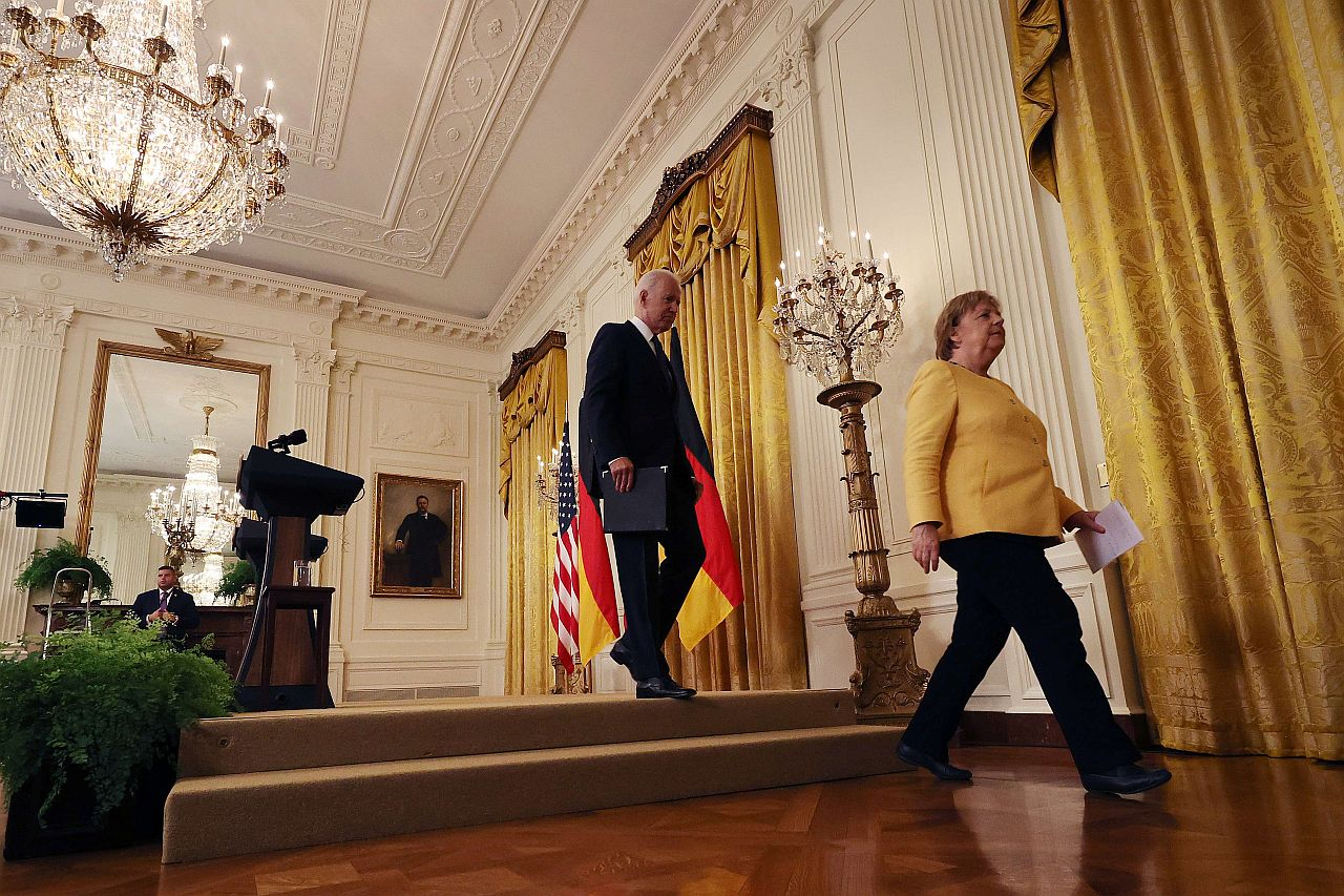 German Chancellor Angela Merkel and US President Joe Biden leave a joint news conference in the White House in July 2021.
